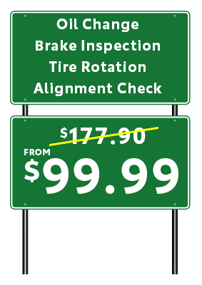 road sign oil change
